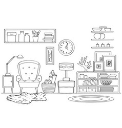 sketch of room interior black and white vector image