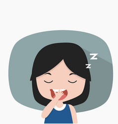small girl sleepy tired yawning vector image