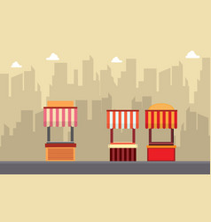 street stall with building background vector image
