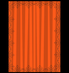 striped orange background framed with the spiders vector image