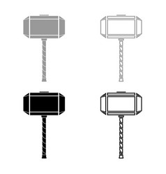 Thors hammer mjolnir icon set grey black color vector