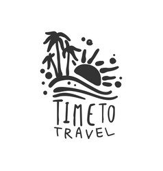 Time to travel logo with summer sun and palm trees vector