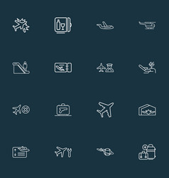 traveling icons line style set with man on vector image