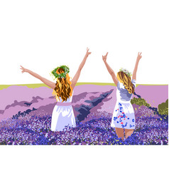 Two blonde women in white dresses with floral vector
