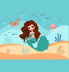 Underwater mermaid concept vector