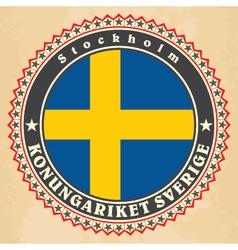 vintage label cards sweden flag vector image