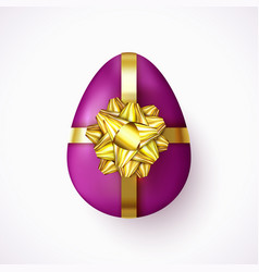 violet easter egg with gold ribbon and gift bow vector image