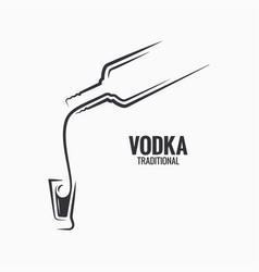 vodka bottle logo vodka shot on white background vector image