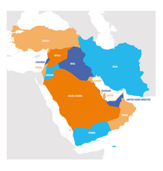 West asia region map countries in western asia vector