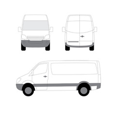 White delivery van side front view vector
