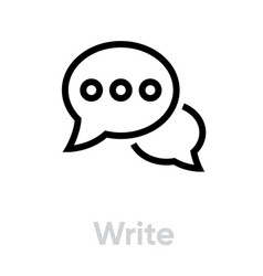 Write message chat icon editable outline vector