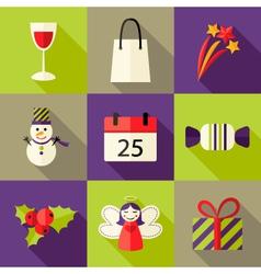 9 Christmas Flat Icons Set 5 vector image vector image