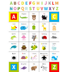 animal zoo alphabet poster letters with eyes vector image vector image