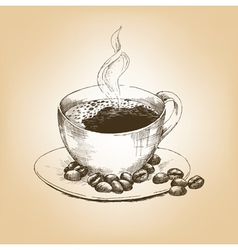 Cup of hot coffee and coffee beans on saucer vector