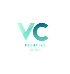 Green gradient pastel modern vc v c alphabet vector