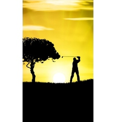 Guy Playing Golf vector image vector image