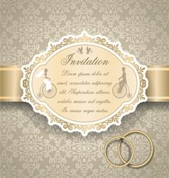 Vintage wedding invitation 6 vector image