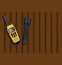 walkie-talkie and a lantern vector image vector image