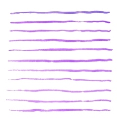 Watercolor stripes strokes purple brushes vector image