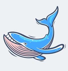 Blue whale sea life vector image