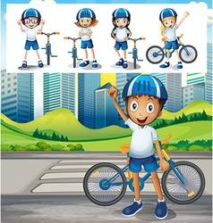 Boy riding bike in park vector