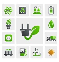 Eco energy icons vector