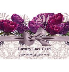 lace card with peony flowers luxury vector image
