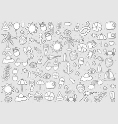 summer symbols and objects drawing by hand vector image