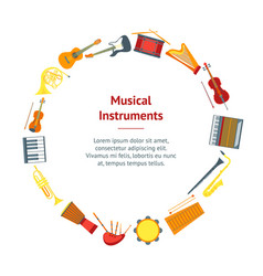 cartoon musical insrtuments banner card circle vector image vector image
