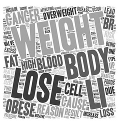 reason to lose weight now text background vector image vector image