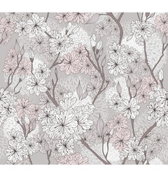 seamless cherry blossom flowers pattern vector image vector image