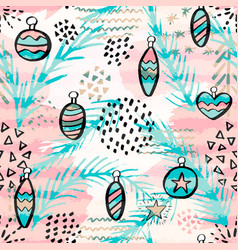 seamless pattern with christmas balls hand drawn vector image vector image