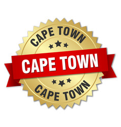 cape town round golden badge with red ribbon vector image vector image