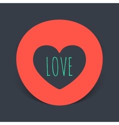 circular realistic sticker with the heart inside vector image vector image