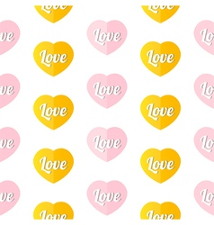 Colorful hearts with word love seamless pattern vector image