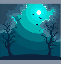 mysterious night landscape with moon in dark sky vector image