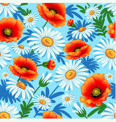 seamless bright with poppies and daisies for vector image vector image