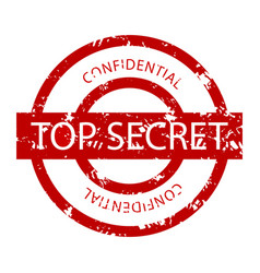 top secret confidential rubber stamp vector image