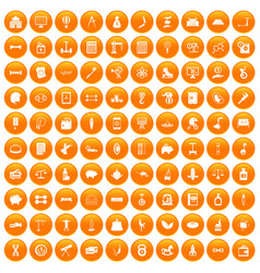 100 balance icons set orange vector