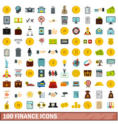 100 finance icons set flat style vector image