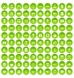 100 travel icons set green circle vector