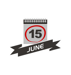 15 june calendar with ribbon vector