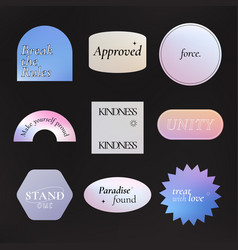 Aesthetic word sticker holographic pastel vector