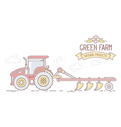Agribusiness of farm tractor with plow isol vector