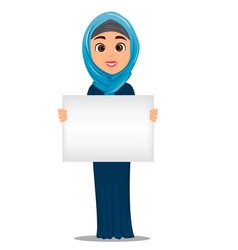 Arabic woman holding blank sign cute vector