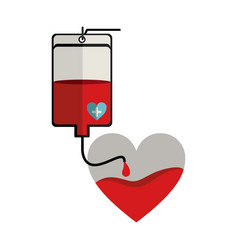 Bag donate blood and heart shape vector