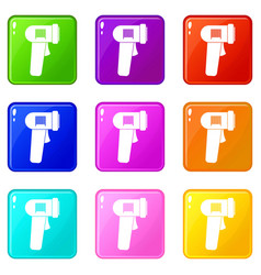 Barcode scanner icons 9 set vector