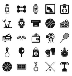 Basketball training icons set simple style vector
