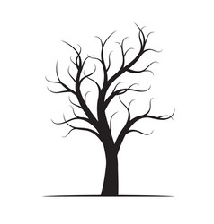 Black winter naked tree vector