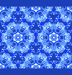 Blue starry flower kaleidoscope background vector